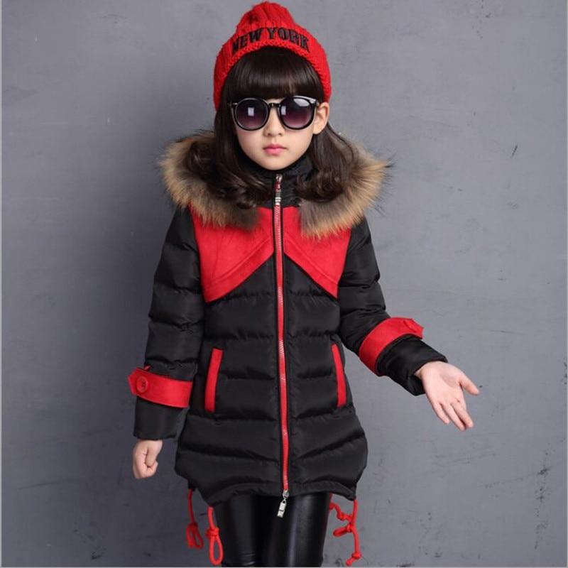 2017 New Winter Girls Jacket Fashion Patchwork Slim Cotton Plus Velvet Hooded Fur Collar Jacket Girl Hot SelletОдежда и ак�е��уары<br><br><br>Aliexpress