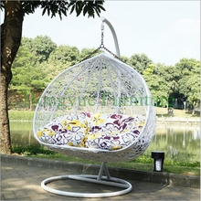 White rattan best outdoor hammock chair with cushions
