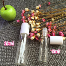 5 PCS 5ml/10ml Waterproof Durable White Cap Transparent Clear Glass Roller Bottle Empty Ball Perfume Cosmetic Make Up Bottles(China)