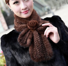 Winter Neck Warmer Poncho Shawl Stole With Flower Genuine knitted Real Mink Fur Scarf For Women Wrap Cape WJ-9