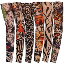 2 Pcs Mixed Nylon Elastic Fake Temporary Tattoo Sleeves Multi Designs Arm Stockings Tatoo For Cool Men Women Free shipping CO143