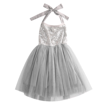 Hi Hi Baby Store Children Girl solid Dress Glitter Halter Party Fantasy Sleeveless Cotton Dresses(China)