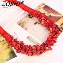 New Bohemia Statement Choker Fashion Charms 100% Natural Coral Stone Gem Collar Necklaces&Pendants Women Fine Jewelry(China)