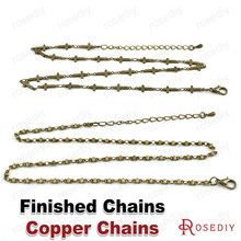 (29008)2PCS Full length 50CM Antique Bronze Copper Finished Chains for Necklace Diy Jewelry Findings Jewelry Accessories