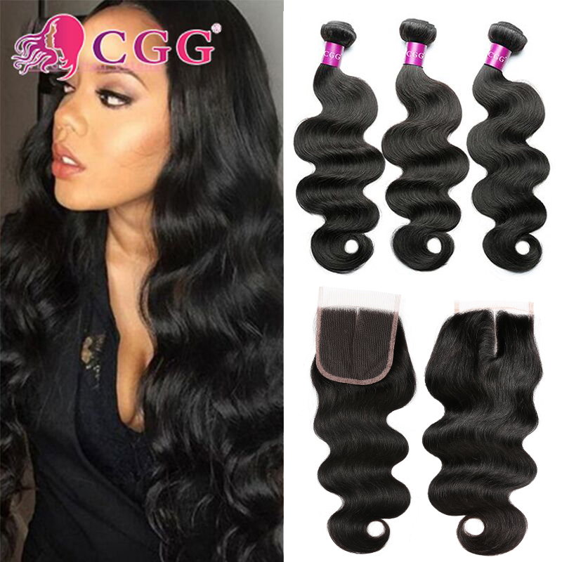 Malaysian Virgin Hair With Closure Grade 8A Malaysian Human Hair 3/4 Bundles With Closure CGG Malaysian Body Wave With Closure<br><br>Aliexpress