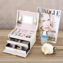 Three Layers Women Gift Jewelry Box Travel Makeup Organizer Faux Leather Case With Mirror And Lock Jewelry Organizer