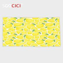 Custom Microfiber Ultra Soft Bath/hand Towel,Yellow Decor Collection Illustration of a Bunch of Lemon Citrus Images and Forms(China)