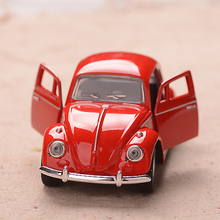 1/32 Diecast Alloy Retro Car Beetle Car Light Sound Diecasts Vehicles Model Toys Pullback Acousto-optic