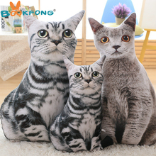 BOOKFONG 1PC 50cm 75cm New Style 3D Printing Cat Fashion Artificial Cat Plush Toys Pillow Cushion Cloth Doll for Birthday Gift