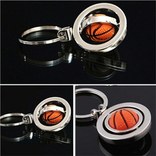 1Pcs Wholesale Key Fob Ball Gifts For Men 3D Sports Rotating Basketball football soccer Keychain Keyring Ring(China)