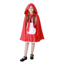 Girls Fancy dress stage Performance clothing Quality Little Red Riding Hood cute Halloween cosplay costume for kids