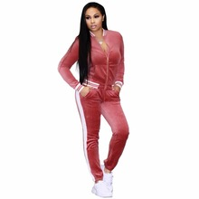 Zmvkgsoa Women Two Piece Set Female Winter Tracksuit Velvet Top + Pants Ladies Long Sleeve Outfit Femme Sporting Suits Y3028(China)