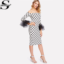 Sheinside Sexy Polka Dot Knee Length Dress Women Off The Shoulder Layered Sleeve Elegant Dress 2018 Elegant Ruffle Sheath Dress(China)