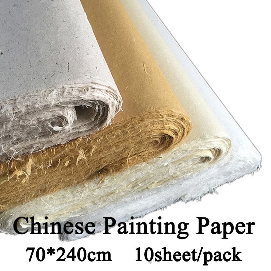 70*240cm Chinese Painting Rice Paper Calligraphy Drawing Paper Fiber Xuan Paper Yunlong Artist treasures Painting supply<br>