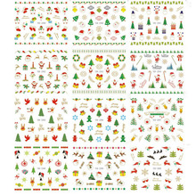 1 Lot = 12 Sheets Festival Christmas X'mas Water Transfer Nail Art Sticker Tips Watermark Manicure Pedicure Nail Decals(China)