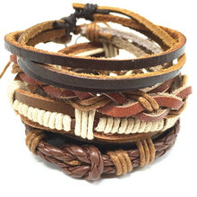 4pcs 1 Set Punk Genuine Wrap Leather Bracelets Men For Women Cuff Jewelry Accessories Wholesale