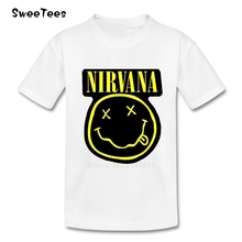 Nirvana Kurt Cobain Smiley Face T Shirt Kids Cotton O Neck Tshirt Children Tee Shirt 2017 Rock N Roll Star T-shirt For Boy Girl