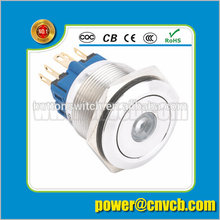 2291 22mm flat head stainless steel waterproof latching dot led push button switch 22mm pushbutton