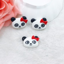 Kawaii fairy Home decoration 3D flat back planar resin craft cartoon panda Figurine DIY hair Bow jewelry accessories(China)
