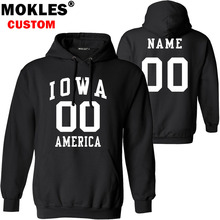 IOWA pullover free custom name number USA des moines jersey keep warm cedar rapid sioux city Fort Dodge flag america IA clothing(China)