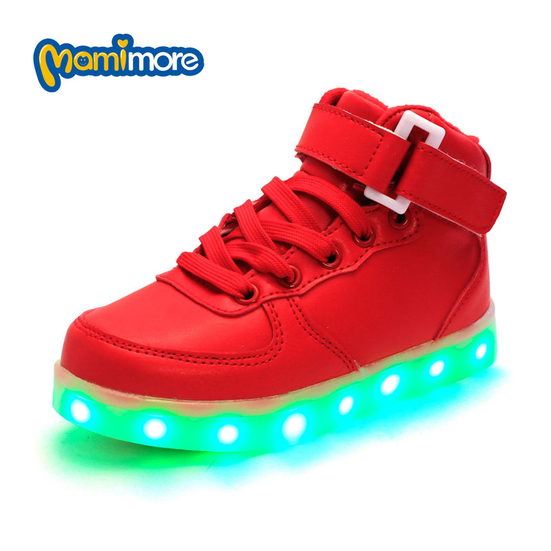 Mamimore Luminous Sneakers For Kids 2017 New Arrival Spring Autumn Colorful LED Lighted Children Casual Shoes Solid Hot<br><br>Aliexpress