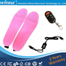 2300mAh Winter Electric Heated Insole with Remote  Control Men Shoes Women Boots Material EVA Solid Pink 35-40 Small Size