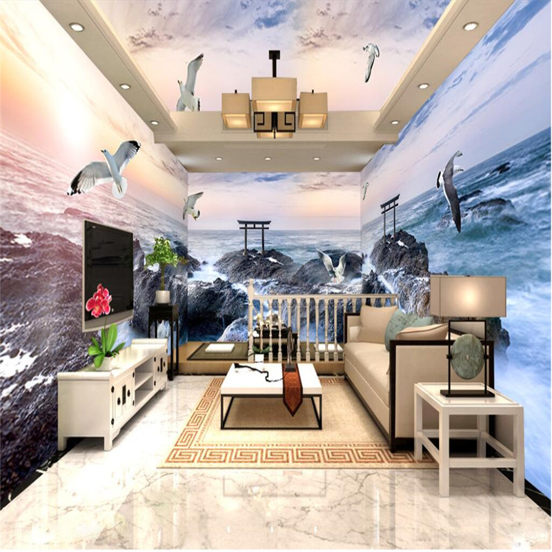 Large Wallpaper 3D Reef Sea Gull Scenery The Sea Background Modern Europe Mural for Living Room Painting Home Decor<br><br>Aliexpress