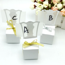 100pcs/lots Chair Shape Place Card Holder Wedding Candy Box Gift Favour Boxes Wedding Bonbonniere Event Party Supplies