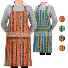 5 PCS Cotton Apron Ethnic style striped pattern Unisex Half-moon Pocket Chefs Home Kitchen Restaurant Cookware Multi-color(China)