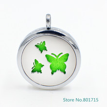 Fashion magnetic Stainless Steel 3 butterfly Perfume essential oil Diffuser Aromatherapy Locket Pads randomly freely XX138
