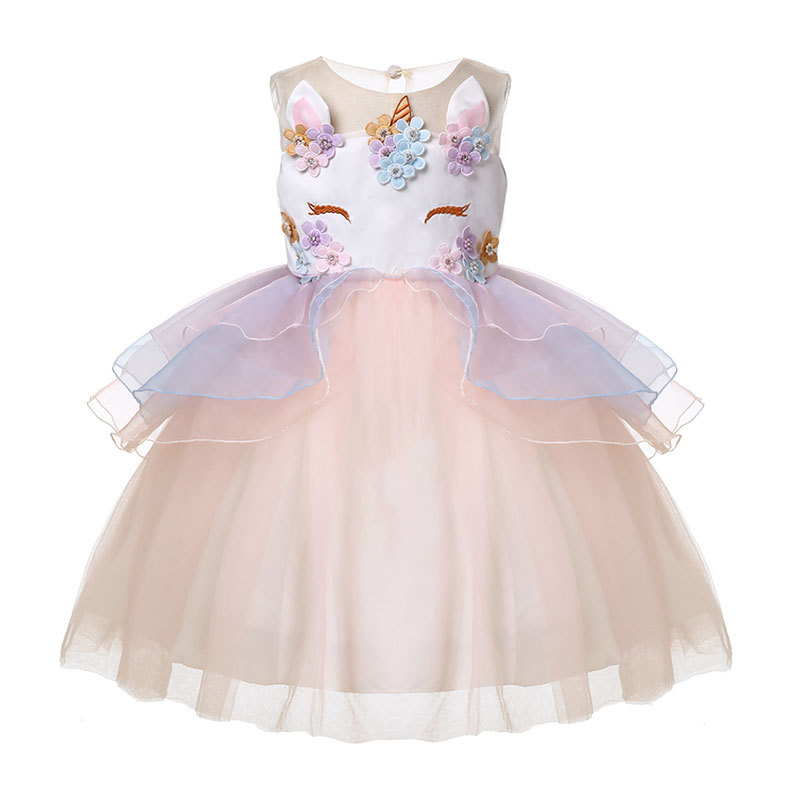 2019 Kids Dresses For Girls Unicorn Party Dress Children Clothing Cosplay Dresses 2-10 Years Carnival Costume Wedding Dresses