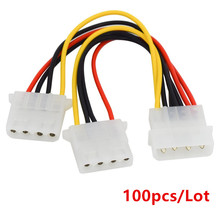 100pcs/Lot Computer Power Supply IDE 4-pin Molex LP4 Male to 2 x Female Splitter Power Cable Cord,Hard Drive Disk HDD DVD CD