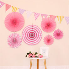 Kids Birthday Prop Round Foldable Paper Fan + Triangular Flag Banner Party Background Decoration P7Ding(China)