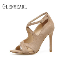 Buy Sexy Women Shoes High Heels Pumps Brand Peep Toe Ankle Strap Woman Pumps Thin Heels Spring Flock Female Party Shoes Plus Size 45 for $28.56 in AliExpress store