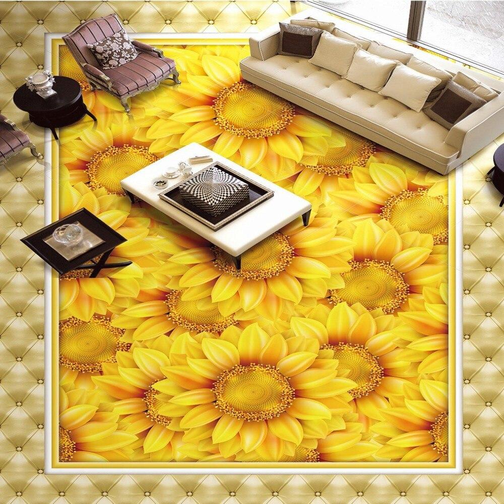 Free Shipping high quality Sunflower Plant Flower 3D stereo floor painting bathroom living room PVC waterproof floor wallpaper<br>
