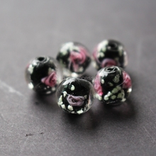 20Pieces/Lot 8mm 10mm Luminous Lampwork Glass Beads Flower Beads Black color jewelry making(China)