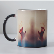 Dropshipping New design Zombie Color Changing cup Black Magic Coffee Mug Cups heat sensitive mugs Supprise gift