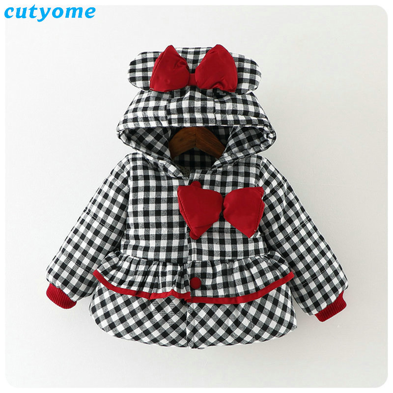 Cutyome Newborn Baby Girls Outwear Coats Hooded Plaid With Bow Cotton Winter Jackets Children Infant Padded Thick Jacket Clothes (31)