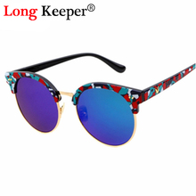 Long Keeper R&Q&S Women SIDERAL Sunglasses Brand Retro Star Half-frame Cat eye Round Mirror Oculos Semi Rimless Accessories(China)