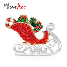 MloveAcc Enamel Santa Claus Sleigh Car with Gifts Brooches Crystal Hijab Pins Christmas Present Women Kids Brooch(China)
