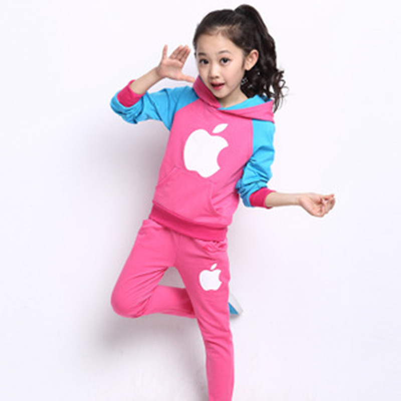 2017 childrens apple printing leisure spell color boy girl hooded jacket + trousers fashion jogging sportswear suit<br><br>Aliexpress