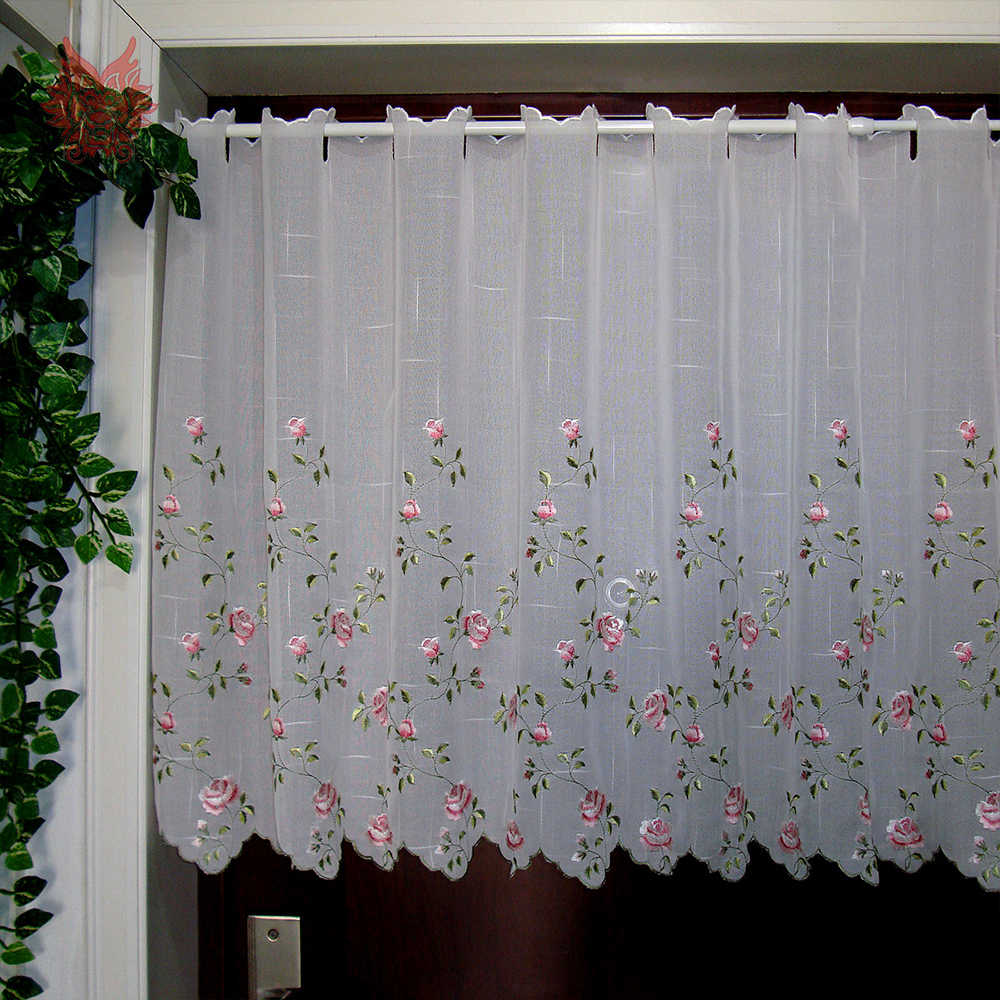 Pastoral pink floral embroidery lace half-curtain bay window curtain for coffee kitchen room tulle cortinas SP4224 Free shipping