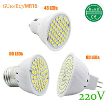 New SMD 2835 GU10 E27 MR16 LED Lamp 220V 230V 240V 48 60 80 LED Spotlight 6w 8w 10w Light Bulbs LED for Home Chandelier Bulb(China)