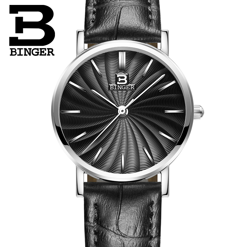 Switzerland BINGER women watches luxury brand quartz  genuine leather strap ultrathin Wristwatches Waterproof B3051W-5<br>