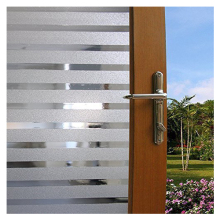 Practical PVC Static Cling White Frost Stripe Decorative Home Office Front Door Translucent Glass Window Film Clings Covering,