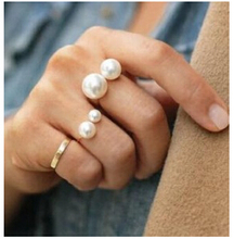 ra283 Simple European and American street shooting joint imitation pearl adjustable ring