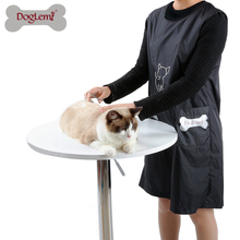 Doglemi Waterproof Pet Dog Cat Grooming Apron with pockets Nylon Pet Black Beautician Smock Clothes Two Size M L for All Seasons(China)