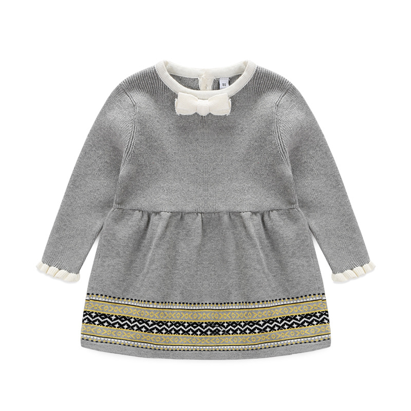 Toddler Girls Sweater Dress Grey Color Cute Child Baby Primer Shirt Knitted Sweater Baby Girl Clothing<br><br>Aliexpress