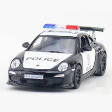 1:36 KINSMART Pull Back Police Car Toy Simulation Alloy 911 GT3 RS Police Cars Model For Boys Doors Openable Kids Toys Juguetes