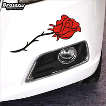 BROSHOO 2pcs/lot Car Styling Rose Flower car stickers reflective covers accessories decals 28*9cm